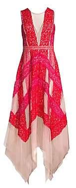 BCBGMAXAZRIA Women's Pieced Lace Asymmetric Hem Dress - Size 0