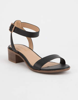 City Classified Ankle Strap Black Womens Heeled Sandals