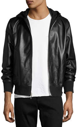 Rag & Bone Men's Christopher Black Leather Hooded Bomber Jacket