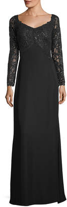 Tadashi Shoji V-Neck Long-Sleeve Sequin Crepe Evening Gown