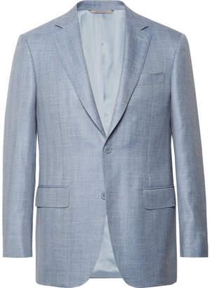 Canali Slim-Fit Light-Blue Wool, Silk And Linen-Blend Blazer