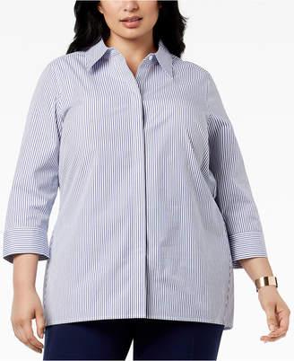 Kasper Plus Size Striped Shirt