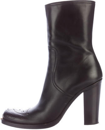 Miu Miu Miu Miu Leather Square-Toe Ankle Boots