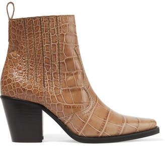 Ganni Callie Croc-effect Leather Ankle Boots - Taupe