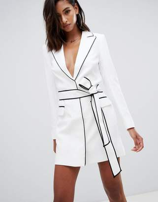 Missguided Peace & Love tie waist tux dress with contrast binding in white