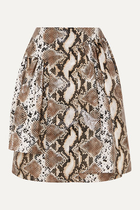 Pushbutton - Layered Snake-effect Faux Leather Skirt - Snake print