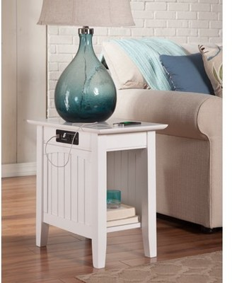 Atlantic Furniture Nantucket Chair Side Table with Charging Station in Multiple Colors