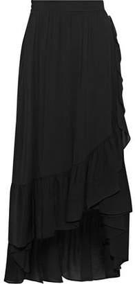 Maje Asymmetric Ruffled Gauze Midi Skirt
