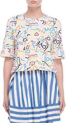 Love Moschino Printed Short Sleeve Sweatshirt