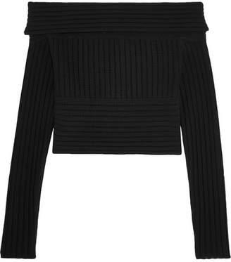 Diane von Furstenberg Off-the-shoulder Ribbed Merino Wool Sweater - Black
