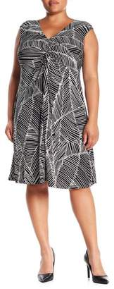London Times Twist Front Matte Jersey Dress (Plus Size)
