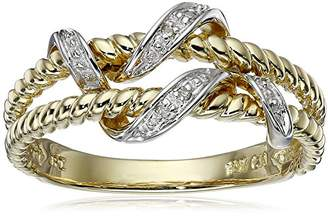 10k Yellow Double Rope Diamond Ring (0.01 cttw