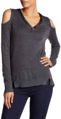 Democracy Faux Leather Trim Cold Shoulder Sweater $68 thestylecure.com