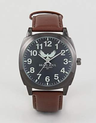 Brave Soul Watch With Black Dial and Brown Strap