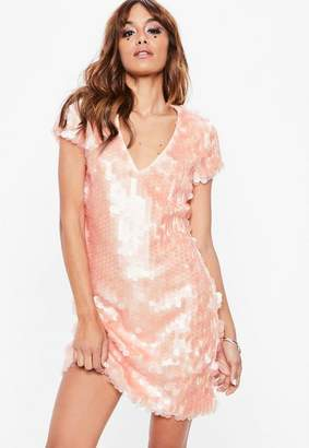 Missguided Tall Peach Sequin Disc T-Shirt Dress