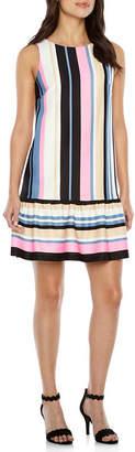Nicole Miller Nicole By Sleeveless Stripe Shift Dress