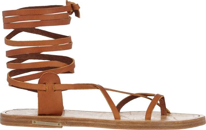Isabel Marant Étoile Amy Ankle-Wrap Sandals-Brown