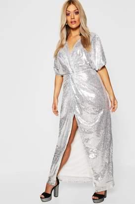 91c61dd92124 boohoo Gemma Collins Kimono Twist Sequin Maxi Dress