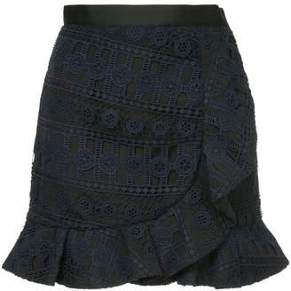 Self-Portrait asymmetric lace skirt