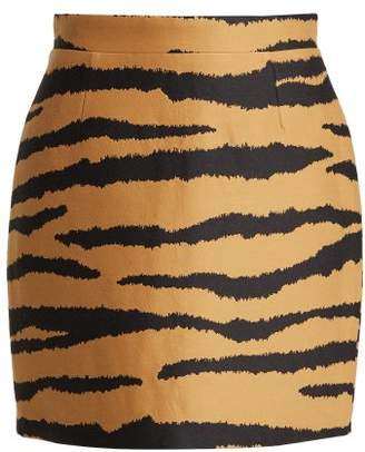Proenza Schouler - Tiger Print Wool Blend Jacquard Mini Skirt - Womens - Orange Multi