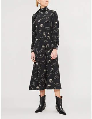 Co Face-print silk dress