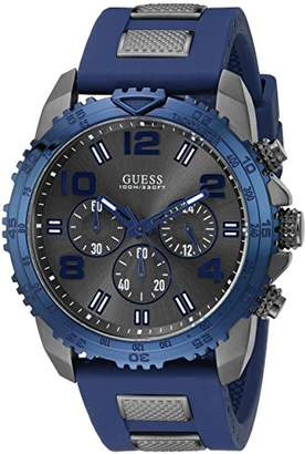 GUESS Men's U0599G2 Silicone Sporty Multi-Function Analog Quartz Movement Blue Watch