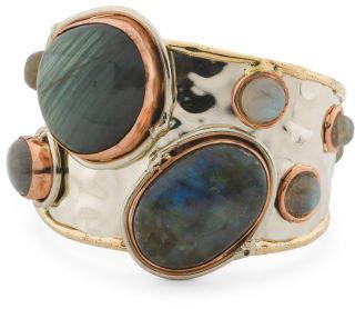Wide Tricolor Labradorite Stone Cuff Bracelet