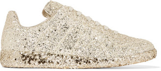Maison Margiela - Glittered Leather Sneakers - Gold $725 thestylecure.com
