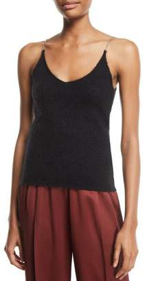 3.1 Phillip Lim Brushed Mohair Scoop-Neck Tank with Rhinestones