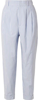 MM6 MAISON MARGIELA Striped Cotton-poplin Tapered Pants - Sky blue