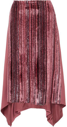 Sies Marjan - Darby Metallic Devoré-velvet And Pleated Chiffon Skirt - Pink