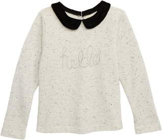 Sloane Peek Hello Embroidery Top with Velvet Collar