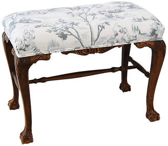 One Kings Lane Vintage Carved Mahogany Bench with Toile Fabric