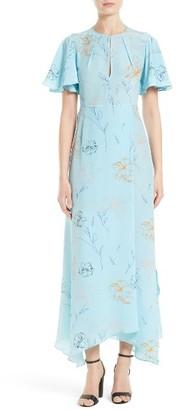 Women's Diane Von Furstenberg Flutter Sleeve Print Silk Maxi Dress $548 thestylecure.com