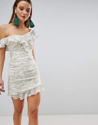 The Jetset Diaries Ruched Ruffle Mini Dress