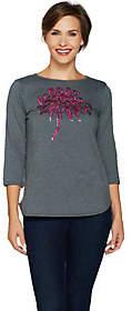 Bob Mackie Bob Mackie's Sequin Floral Heathered T-Shirt