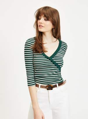 Miss Selfridge Green and White Long Sleeve Stripe Wrap Top 19bfe986f