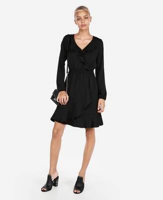 Express Ruffle Elastic Waist Wrap Dress
