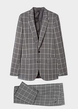 Paul Smith The Soho - Men's Tailored-Fit Grey Loro Piana Windowpane Check Wool Suit
