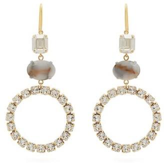 Isabel Marant Strass Embellished Hoop Drop Earrings - Womens - White