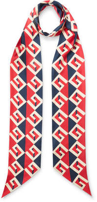 Gucci Printed Silk-twill Scarf - Red