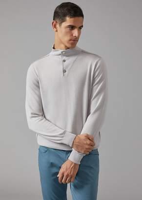 Giorgio Armani Cashmere Sweater With Press Stud Neck