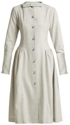 Luisa Beccaria Wool Blend Midi Dress - Womens - Blue
