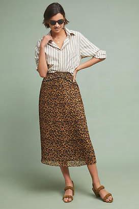 Ranna Gill Pleated Leopard Midi Skirt