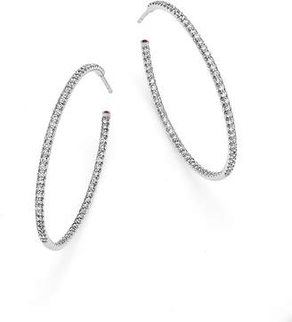 Roberto Coin 18K White Gold Extra Large Hoop Earrings with Micro Pavé Diamonds