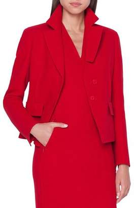 Akris Aada Cut Collar Fitted Wool Jacket