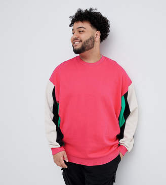 Asos DESIGN plus oversized sweatshirt with color blocking