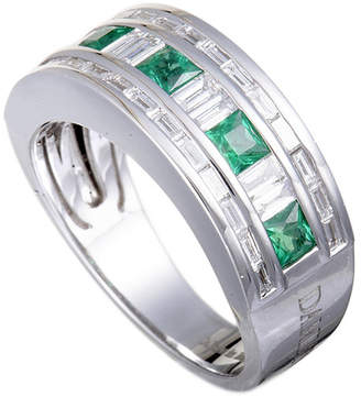 Damiani 18K 1.47 Ct. Tw. Diamond & Emerald Ring