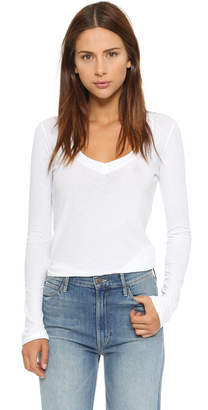 James Perse Long Sleeve V Neck Tee $66 thestylecure.com