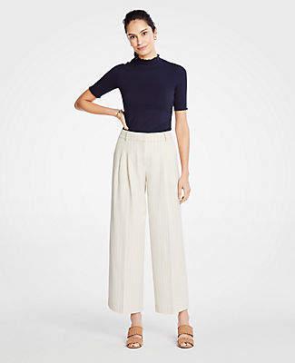 Ann Taylor Stripe Pleated Wide Leg Crop Pants